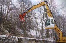 Ce Liebherr 924 réduit tous les arbres en miettes