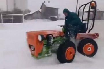 tracteur drift sur la neige